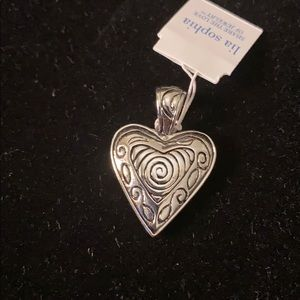 Reversible silver heart pendant NWT